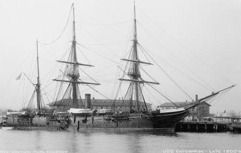 U.S.S. Enterprise Late 1800's - Vintage Nautical art print restoration for Interior Design