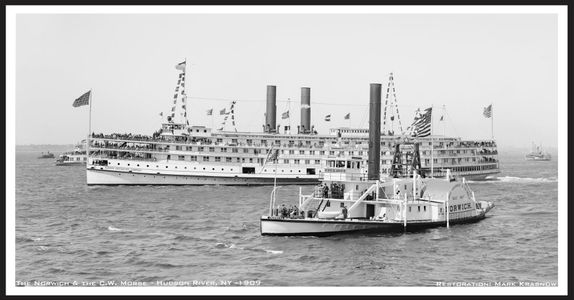 Norwich & CW Morse on the Hudson 1906 - Vintage Nautical art print restoration for Interior Design
