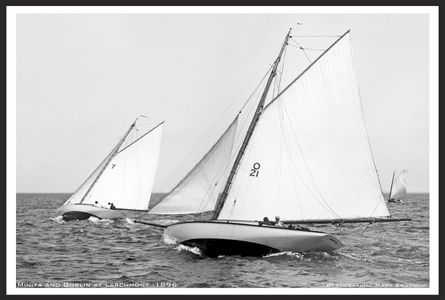 Minita and Goblin 1896 - Larchmont - Vintage Sailing Restored Art Prints