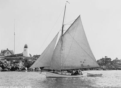 White Wing 1890 - Vintage Sailboat art print restoration for Interior Design