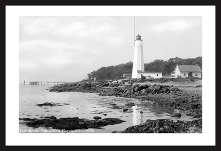 Lighthouse Point, New Haven, CT - 1900 historic black & white art print restoration