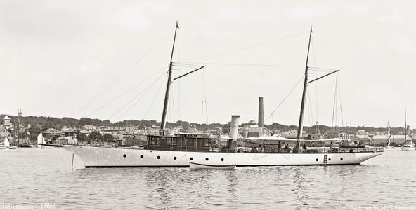 Classic Steam Yacht Ballymena - 1891- Vintage Art Print Restoration