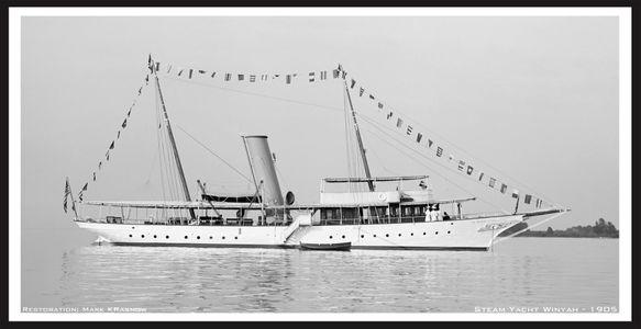 Steam Yacht Winyah 1905 - Vintage Nautical art print restoration for Interior Design