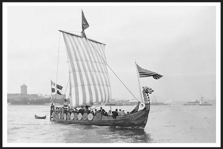 Viking 1893 - Vintage Sailboat art print restoration for Interior Design