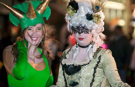 Girls  in costume for Halloween in Salem