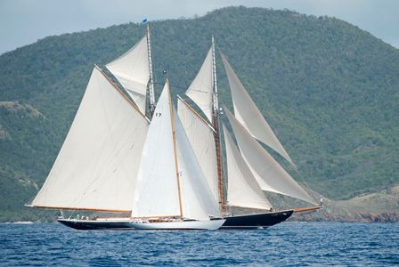 The Blue Peter and Schooner Columbia before the Start - Antigua 2016
