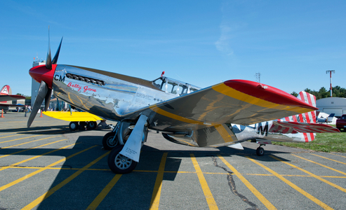 P-51 Mustang on tarmac at airshow in Beverly, MA