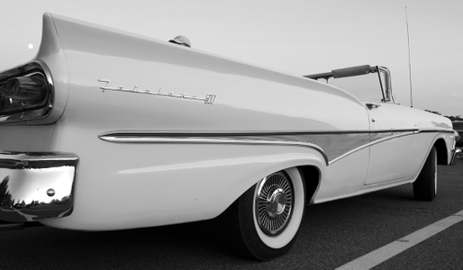 Ford Fairlane 500 black & white photography art print
