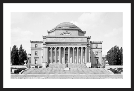 Columbia University Law Library - 1905 - Historic black & white art print restoration