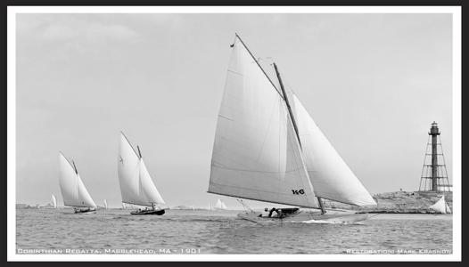 Vintage Sailing Restored Art Print in Marblehead 1901