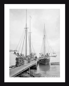 Mackinac Island, MI, 1906 - Vintage sailing photography art print restoration for home and office