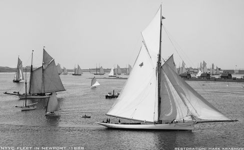 NYYC fleet Newport RI - 1888 - Retouched Sailing Art Print