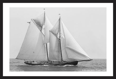 Schooner Jessie Costa - 1907 - Antique art print restoration