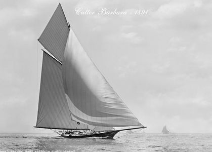 Cutter Barbara -1891- Vintage Sailing Art Print Restoration