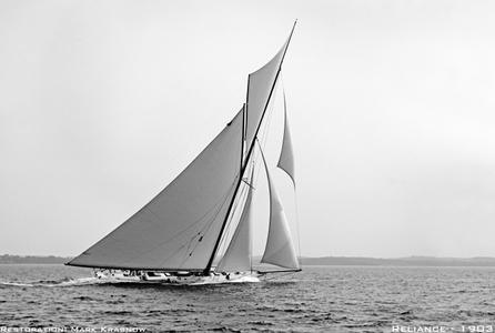 America's Cup Reliance 1903 - Vintage Sailboat art print restoration for Interior Design