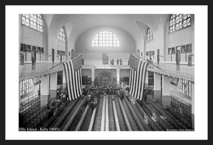 Ellis Island - Early 1900's - historic art print restoration