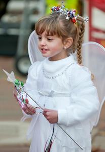 little girl in costume for Halloween in Salem, MA
