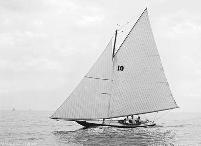 Vanessa 1892 - Vintage Sailboat art print restoration for Interior Design
