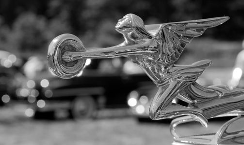 Packard Goddess of Speed Hood Ornament black & white art print