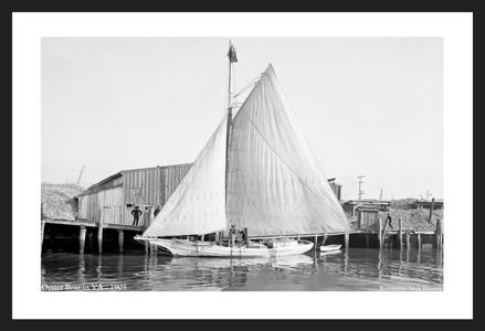 Oyster Boat in Virginia -1905 - Historic antique sailing photography art print restoration for home and office