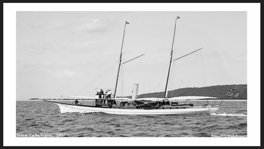 Steam Yacht Vision - 1897 - Restored Vintage Art Prints for Home & Office