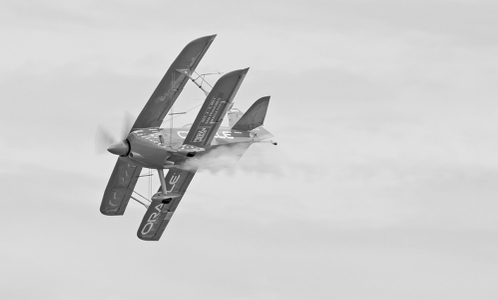 Oracle acrobatic biplane piloted by Sean Tucker - B&W