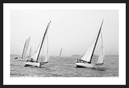 Indian Harbor Regatta -1893  - Vintage sailing photography art print restoration