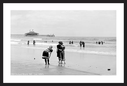 Old Orchard Beach, Maine Late 1890's - Historic black & white photography art print restoration