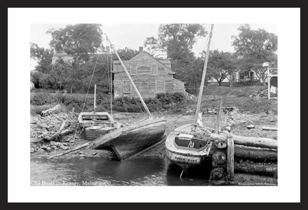 Old Boats in Kittery, ME, 1900 - Historic art print restoration