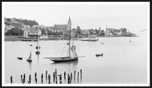 Vintage Landscape - Sailboat Moored at Mission Point, MI, -Restored Art Print - Early 1900's