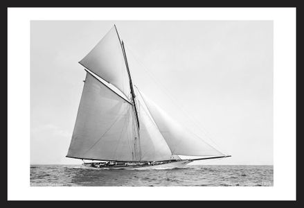 America's Cup Sloop Volunteer - 1895 black & white historic art print restoration