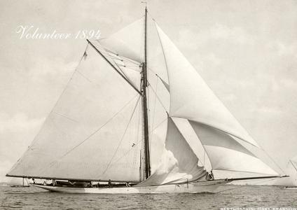 Volunteer 1894 -Vintage Sailboat art print restoration for Interior Design