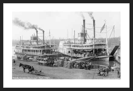 Paddle wheel steamers - Early 1900's - historic photography art print restoration