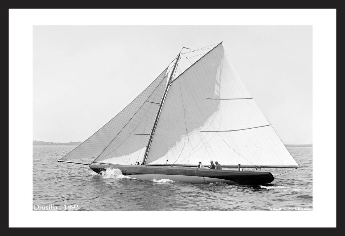 Drusilla -1892  - black and white antique sailing art print restoration
