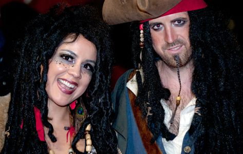 Pirate Couple in costume for Halloween in Salem