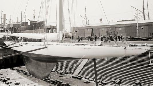 Reliance 1903 in Drydock - Vintage Sailboat art print restoration for Interior Design