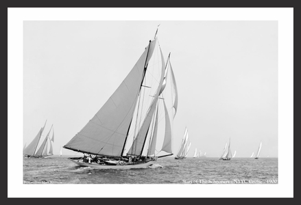 Start of the Schooners - NYYC 1900 - Vintage sailing photography art print restoration