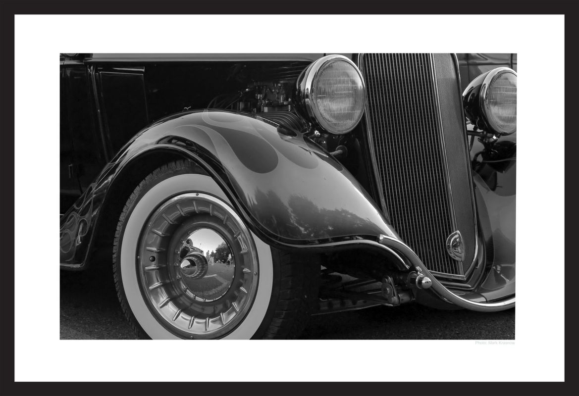 classic car details - black & white art prints
