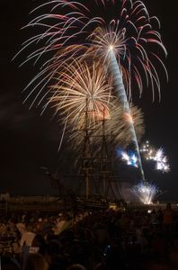 Fireworks silouetting the Friendship of Salem art print