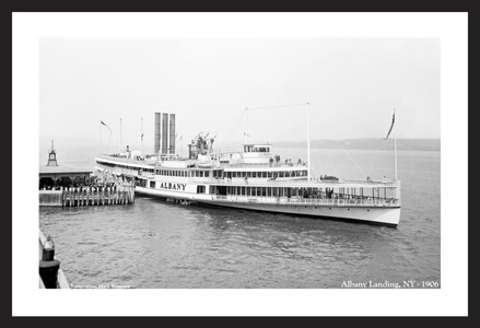 Albany Landing, NY - 1906 - Historic sailing photography art print restoration for home and office
