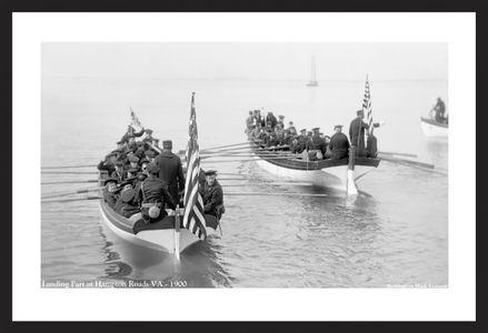 Landing Party Hampton Roads, VA - 1900  - Vintage nautical art print restoration