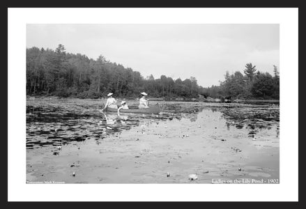 Ladies on the Lily Pond - 1902 - Vintage black & white art print photography restorations
