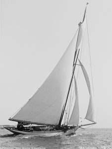 Wayward 1890 -Vintage Sailboat art print restoration for Interior Design