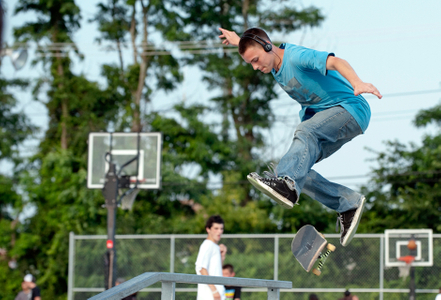 skateboarder getting air at skatepark in Beverly