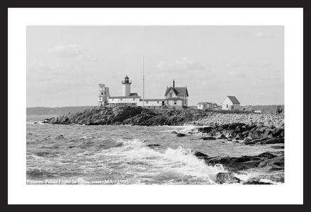Eastern Point Light, Gloucester, MA - 1905 - Historic black & white art print restoration