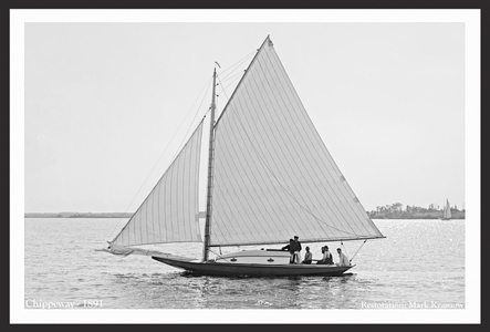 Vintage Sailboats - Chippeway - 1891 - Art Prints  for Home & Office Interiors