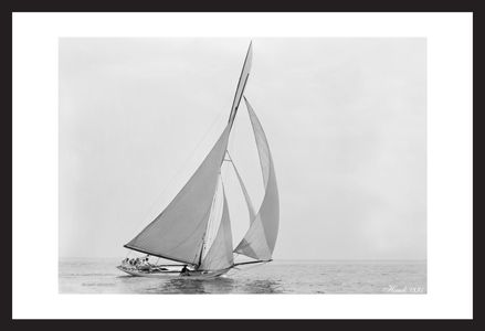 Historic sailing photography art print restoration - Hawk -1891