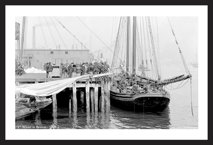 T - Wharf in Boston -1905  - Vintage sailing photography art print restoration