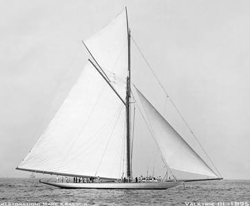 Valkyrie III - 1895 - Vintage Sailboat art print restoration for Interior Design