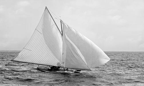 Vaquero 1896 - Vintage Sailboat art print restoration for Interior Design